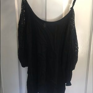 04c11c6fbf1f9 Xhilaration Tops - Black off the shoulder top with lace accent sleeve
